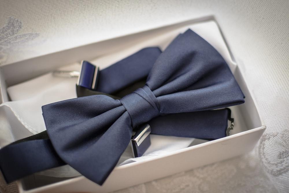 blue ribbon on box