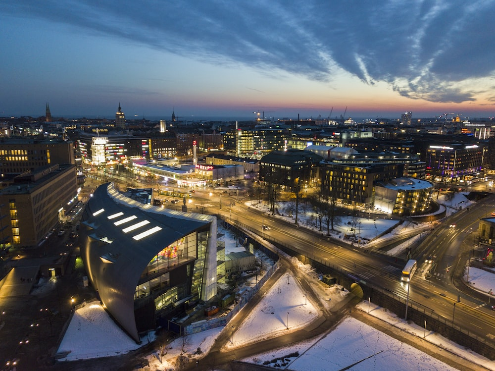 aerial view photography of lighted buildings