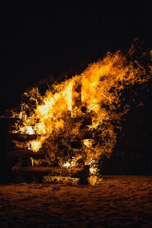 fire burning on ground