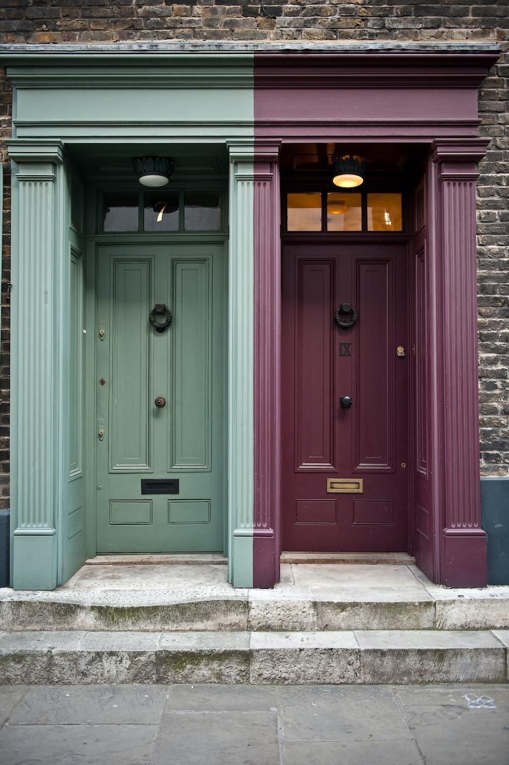 photo of two maroon and green door panels