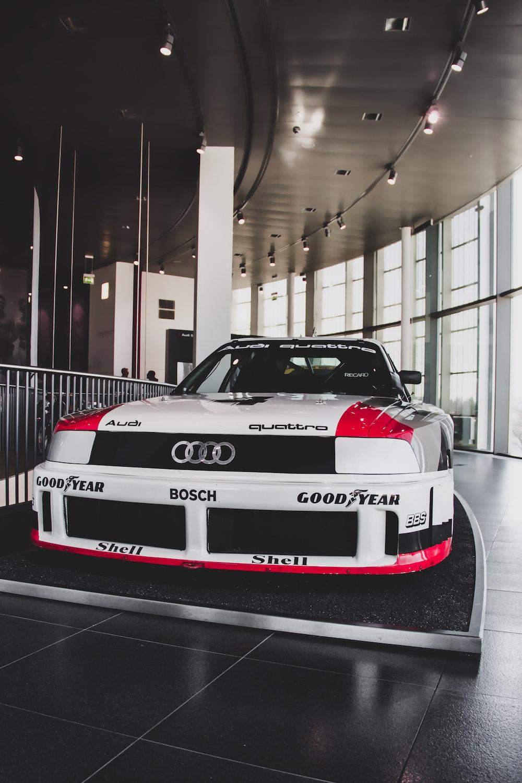 parked white Audi car