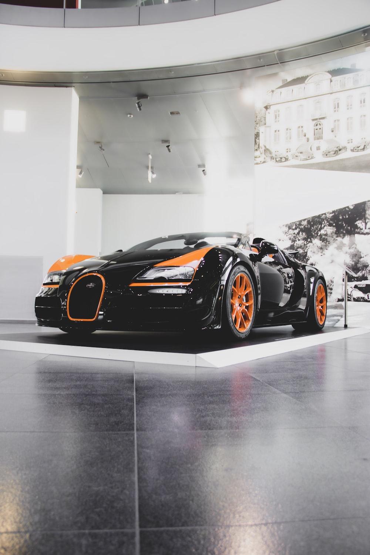 black and orange sports coupe