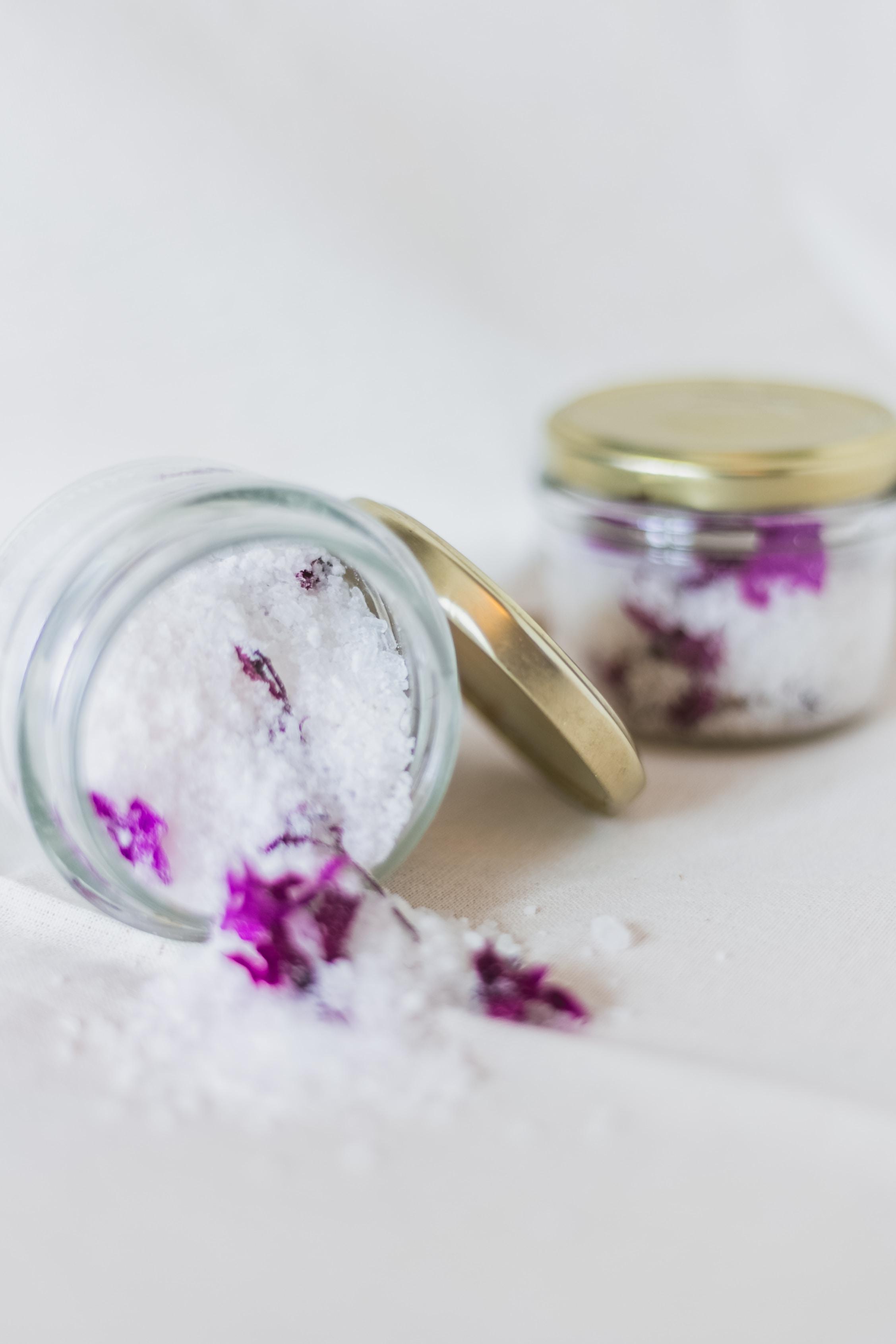white salt on glass jar