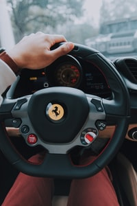 person on Ferrari multifunction steering wheel