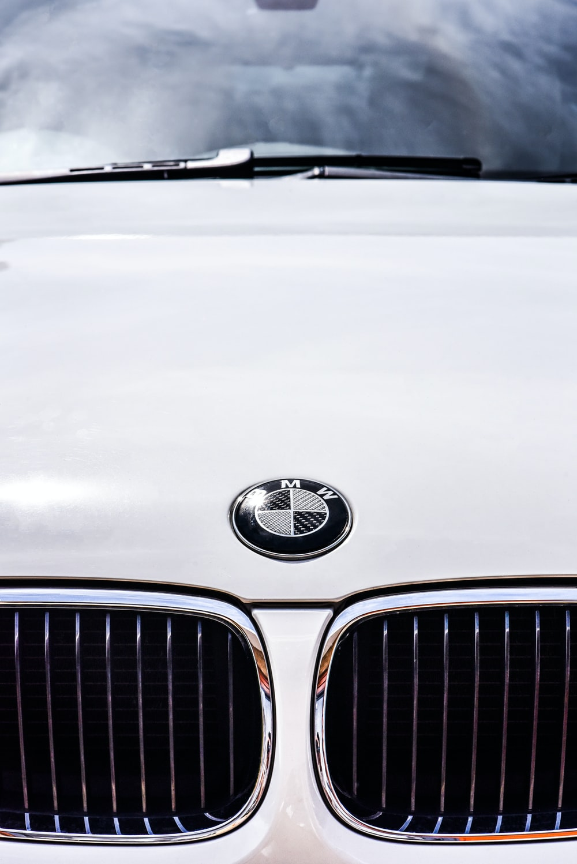 white BMW vehicle hood