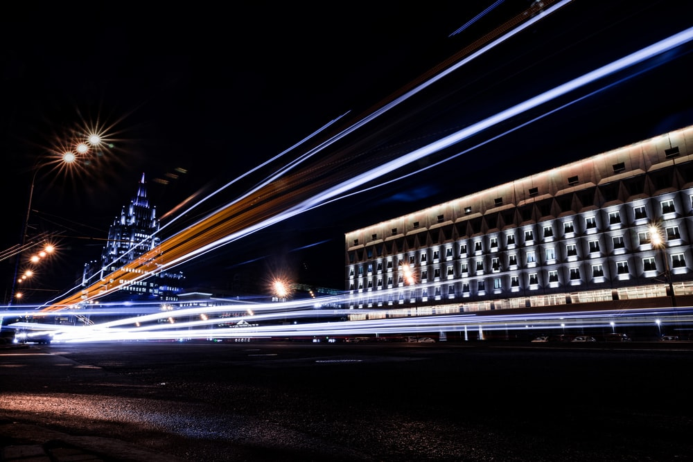 time lapse photography of vehicle lights