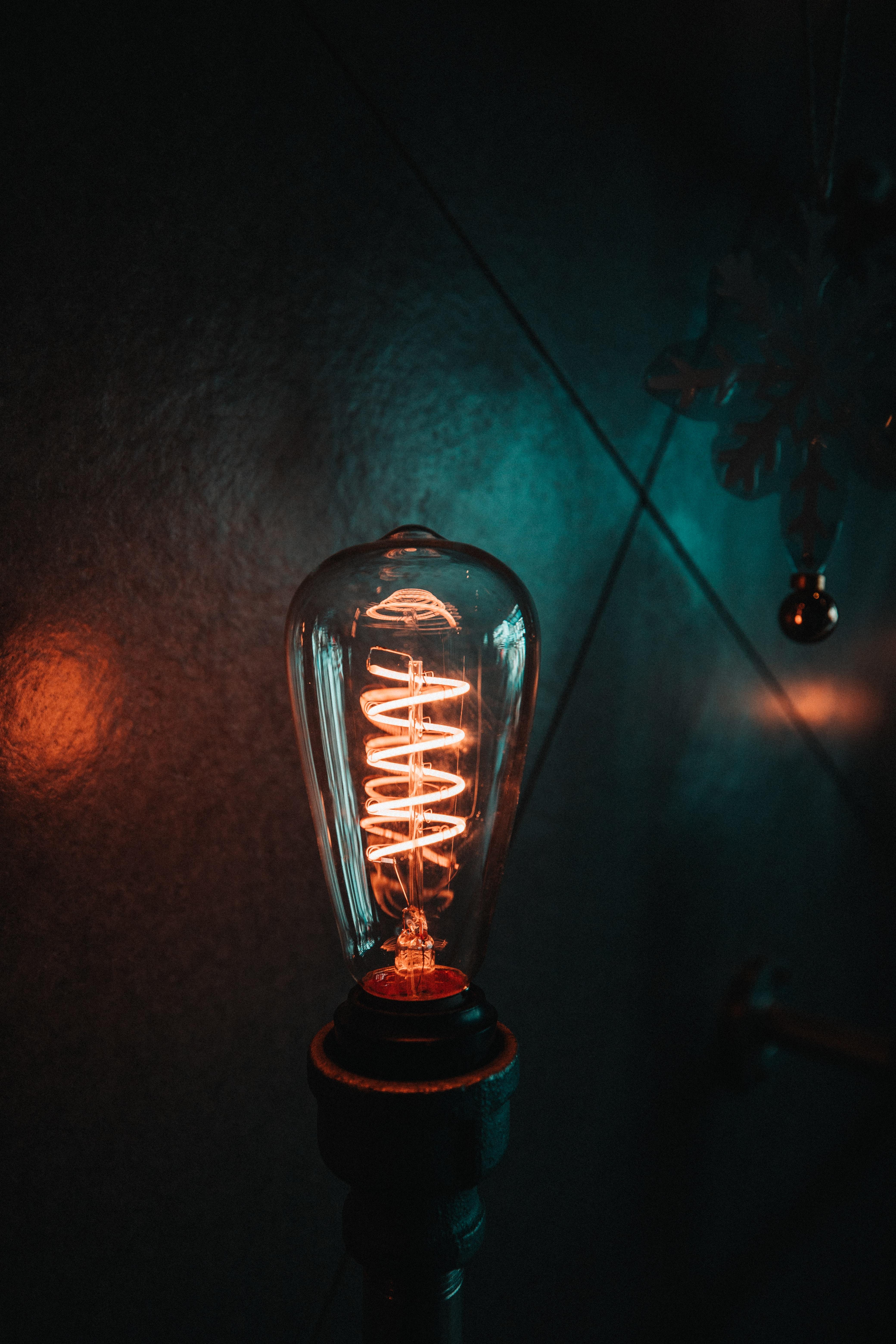 turned-on filament bulb
