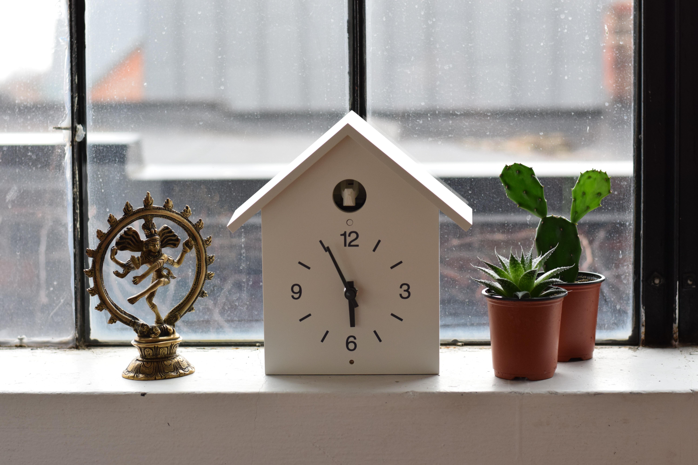 white wooden house analog clock reading 5:55