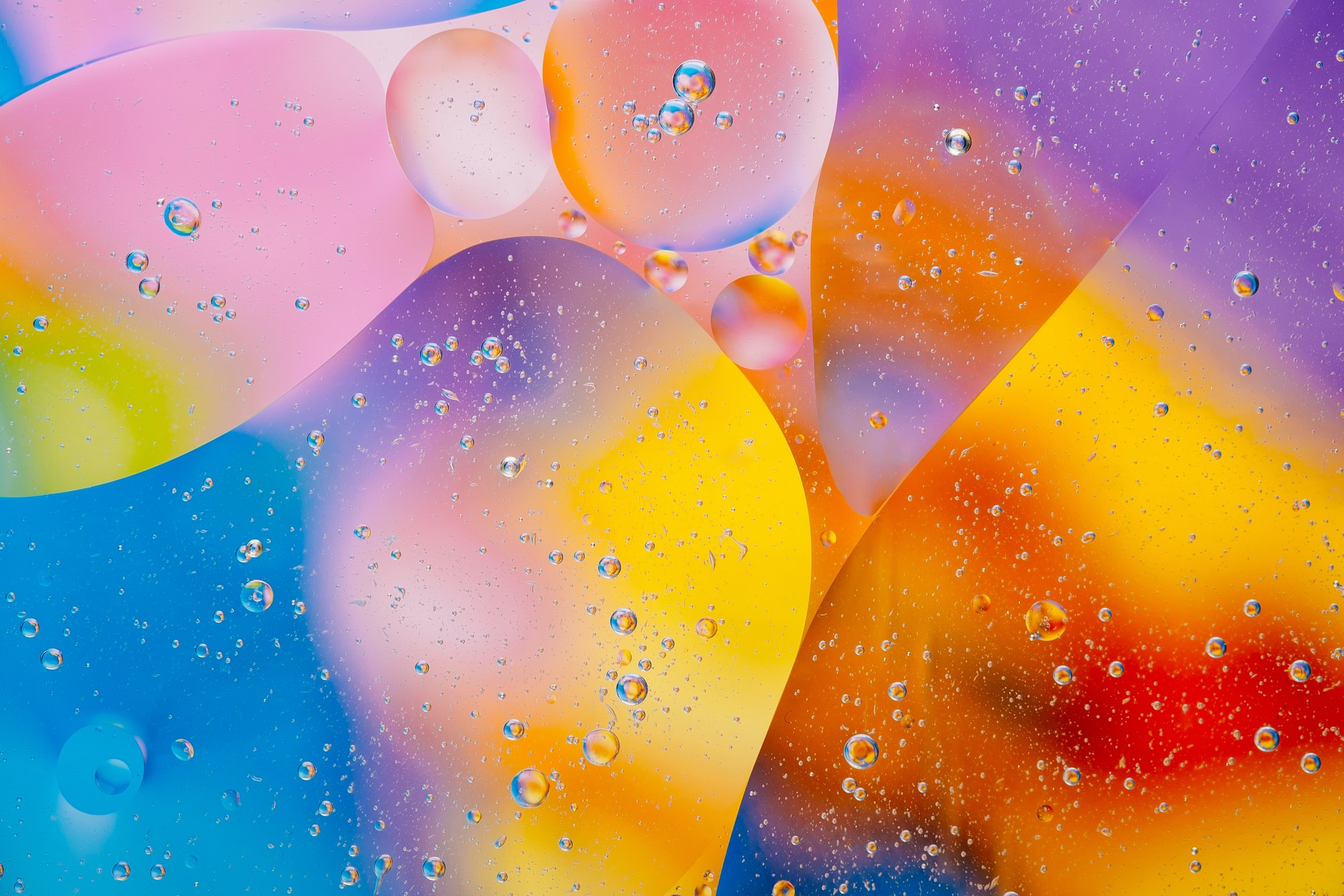 Macro photography of water and sunflower oil in different variations