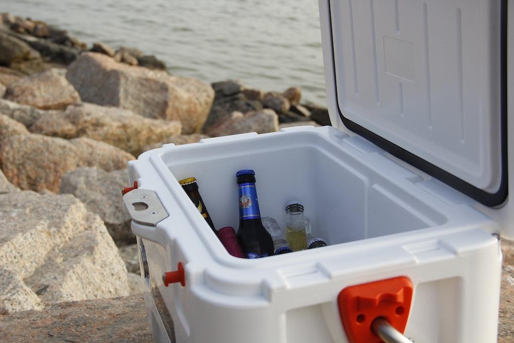 drink bottles inside cooler chest