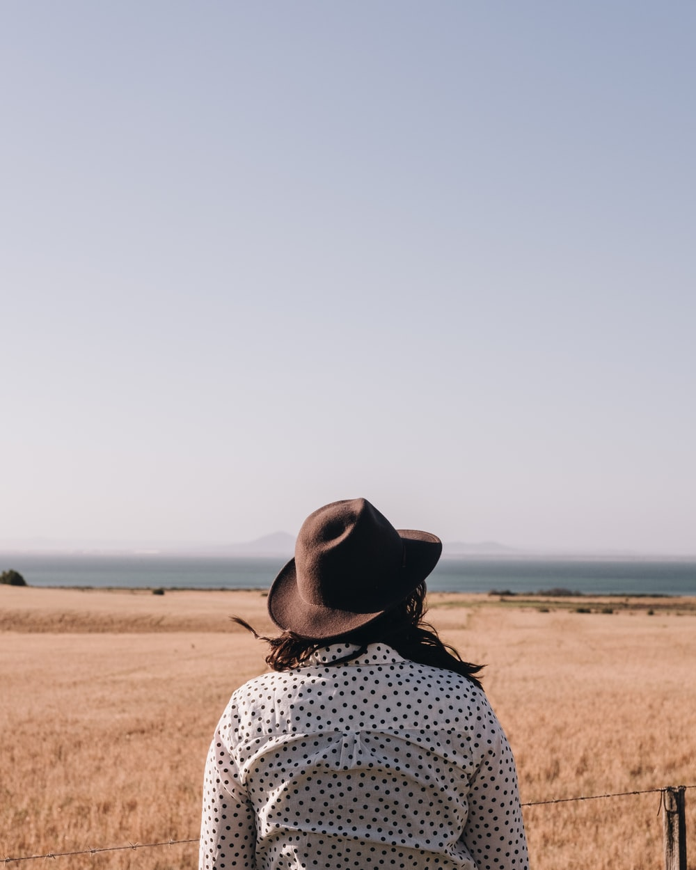 person in black and white polka dot top and brown hat