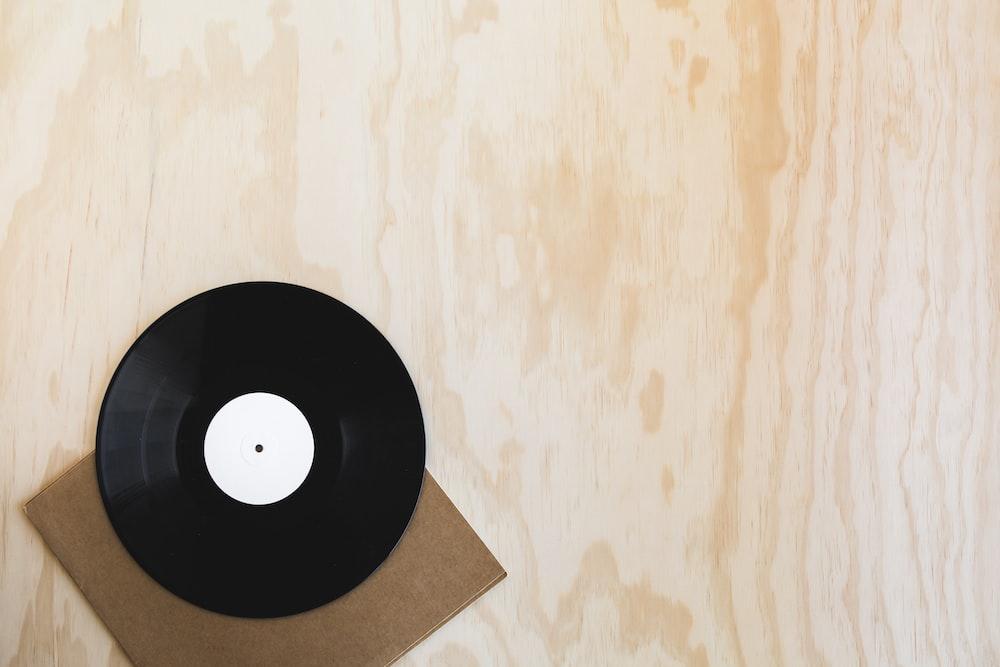 black and white vinyl disc