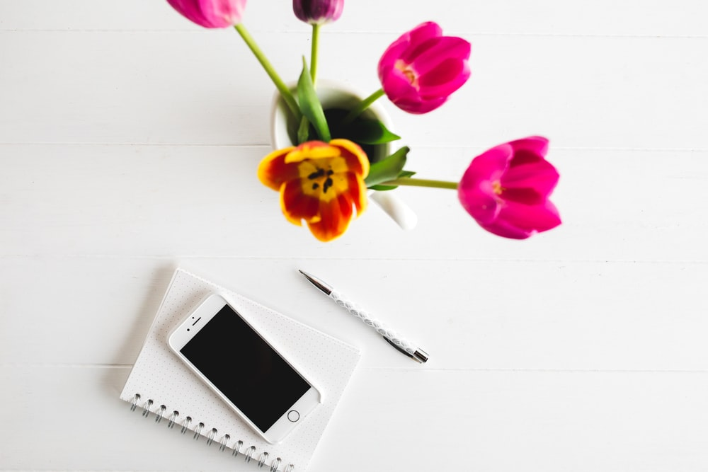 silver iPhone 6, click pen, and pink tulips