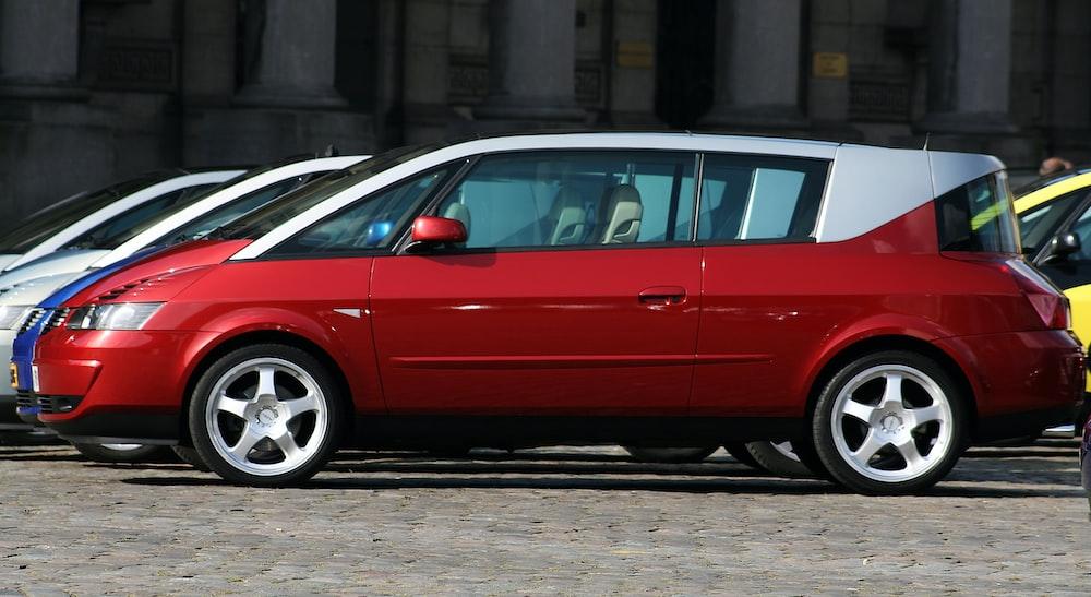 red and gray 3-door hatchback