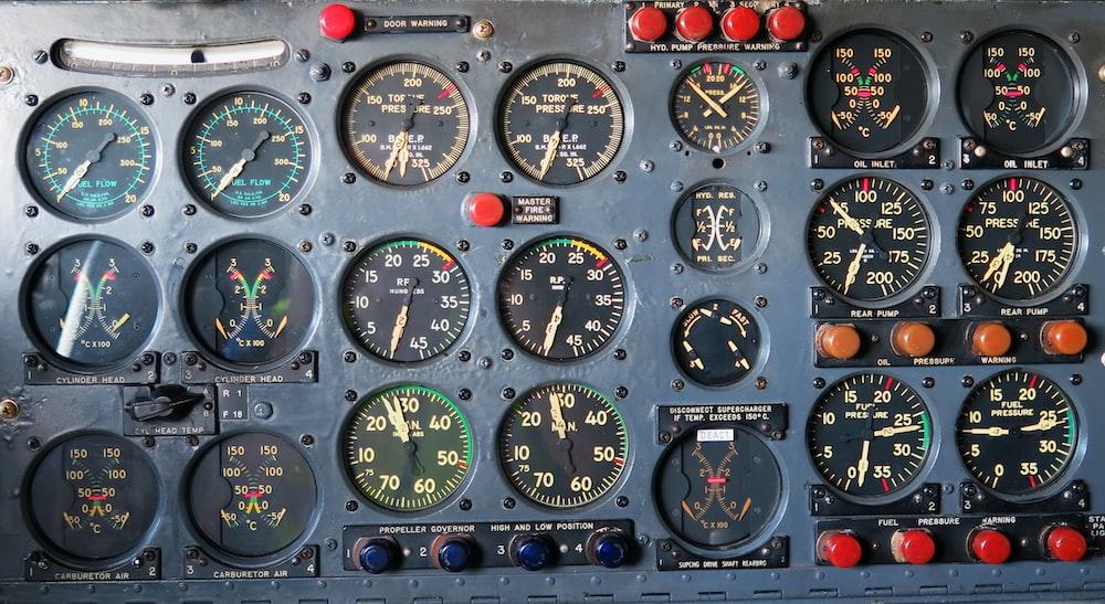 assorted-dial meter board