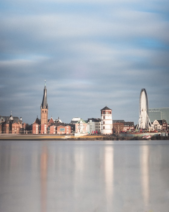 View from the Rhine in Dusseldorf, Germany
