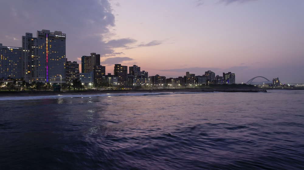panoramic photo of lighted buildings