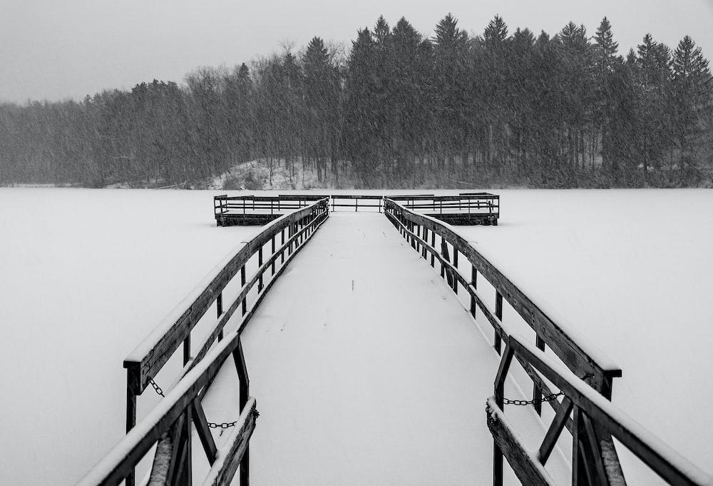 brown wooden icy boardwalk