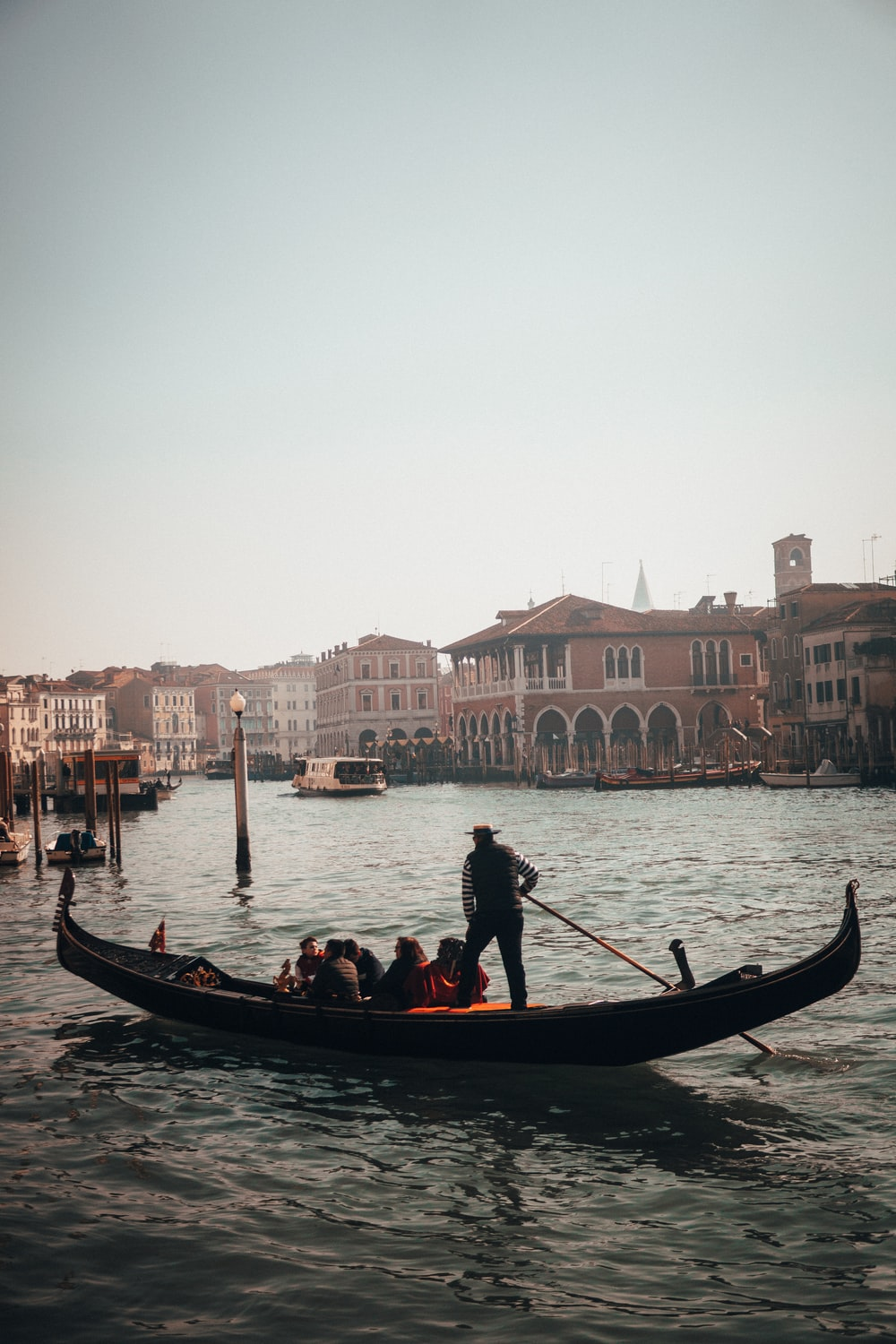 people in gondola boat at Italy