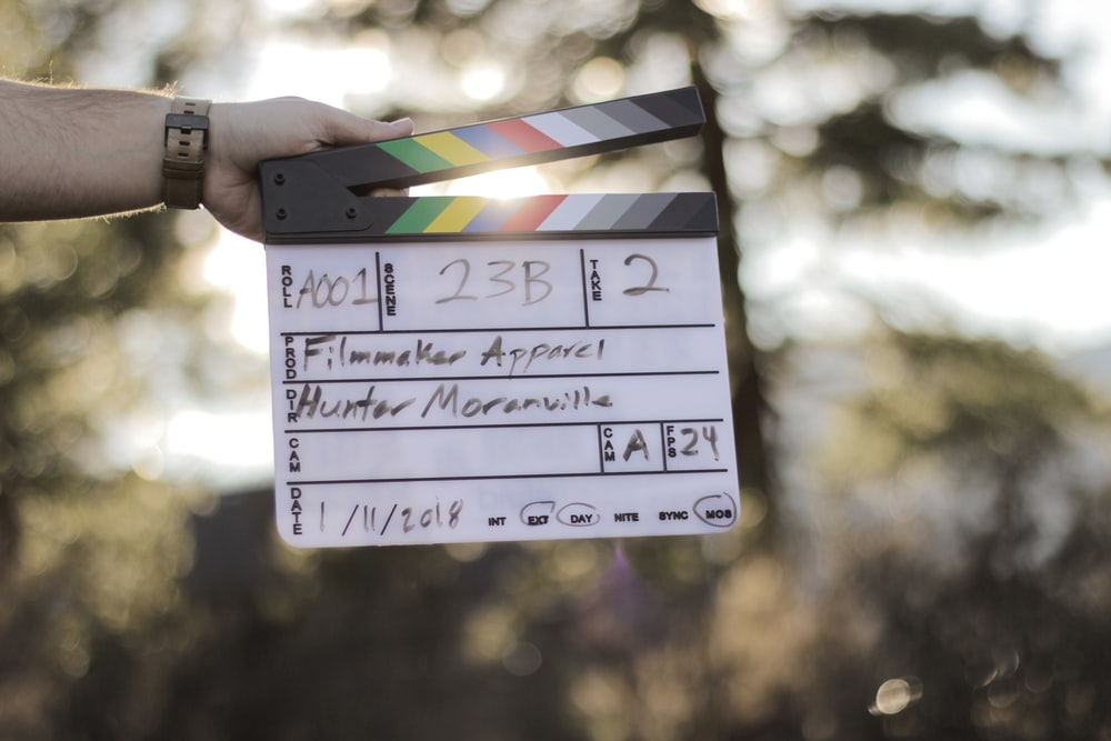 person holds clapperboard hunter moranville dated january 11, 2018