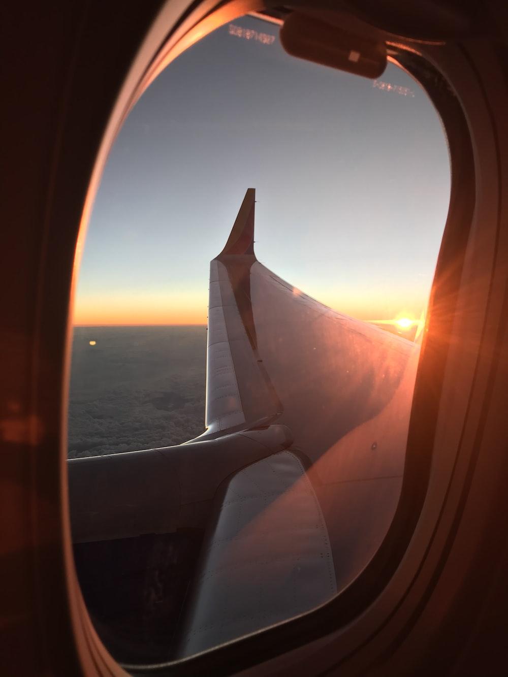 gray airplane window during daytime