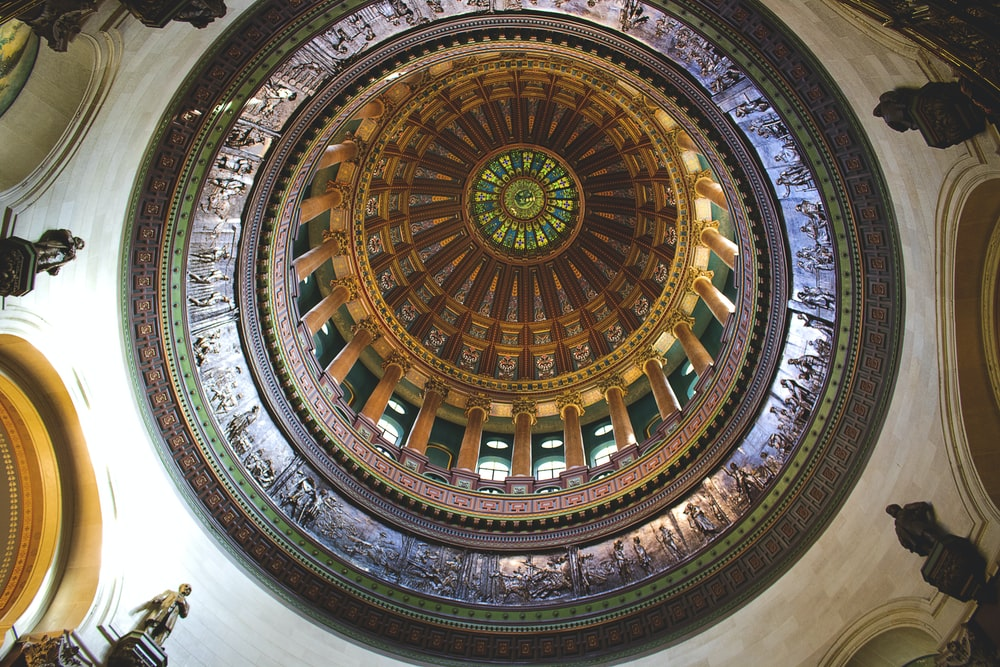 bottom view of dome building during daytime