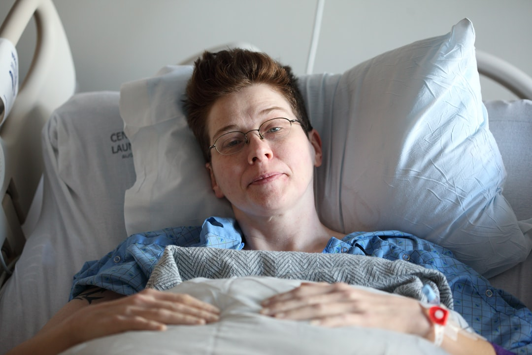 """My wife recovering after having right hemicolectomy surgery for her advanced Crohn\u2019s disease."""