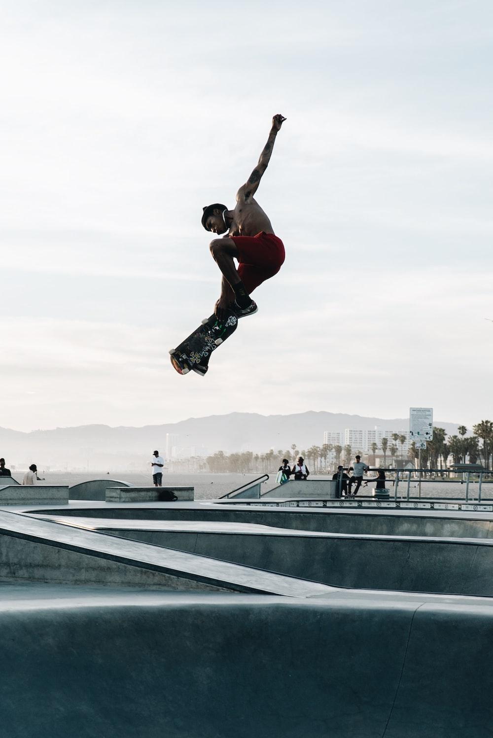 man doing skateboard tricks