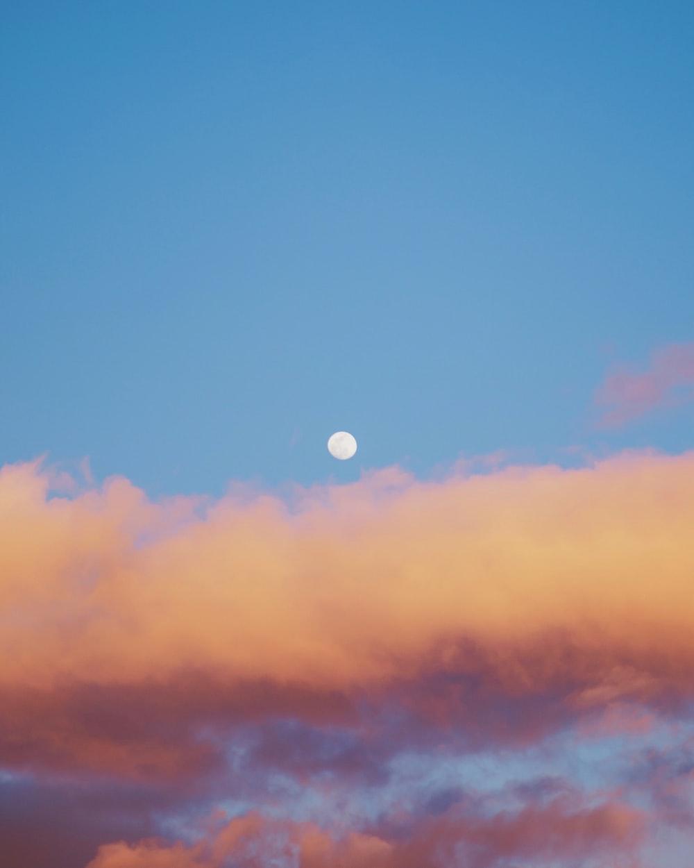 moon under blue sky