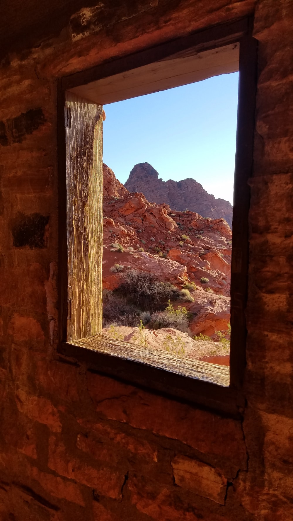 square brown wooden window