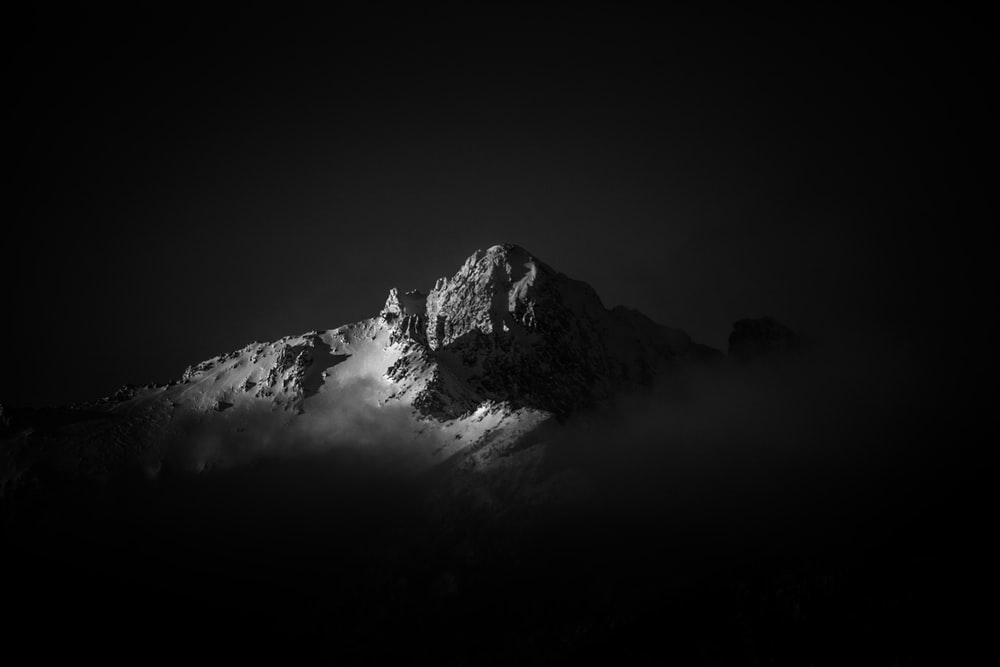 grayscale icy mountain