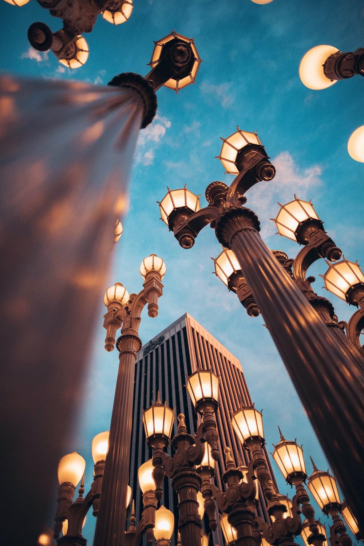 turned-on lights