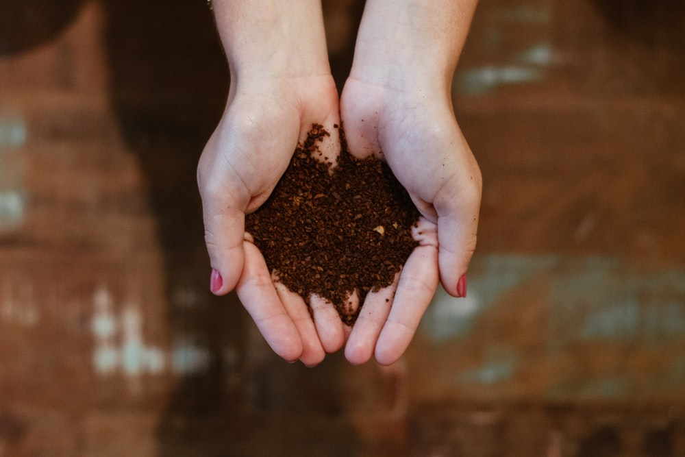 top view of woman's hands with soil
