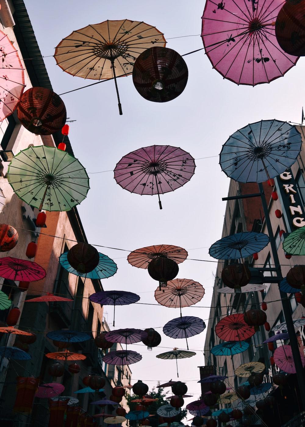 multicolored umbrella street décor