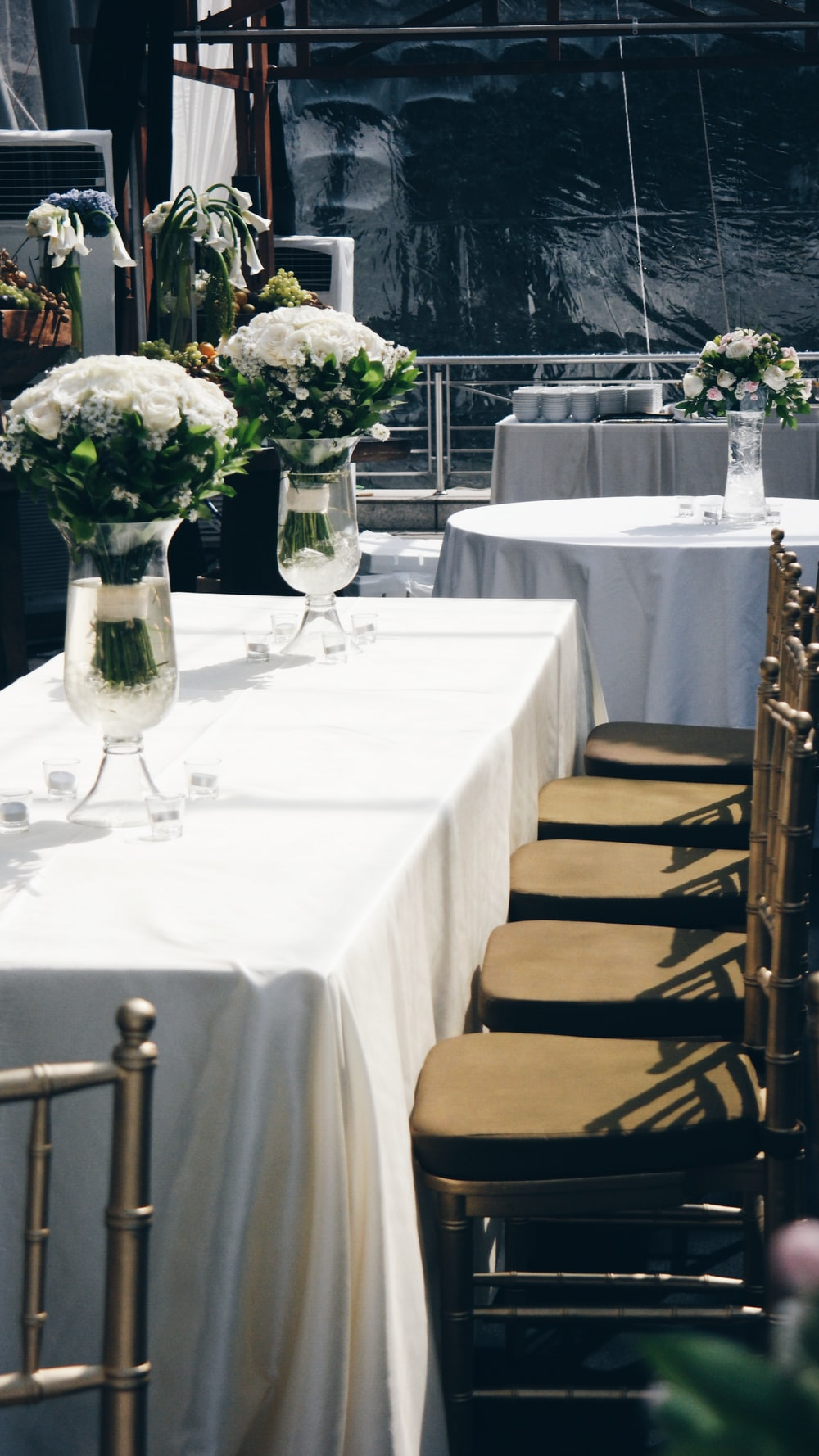 two white arrangement on top table