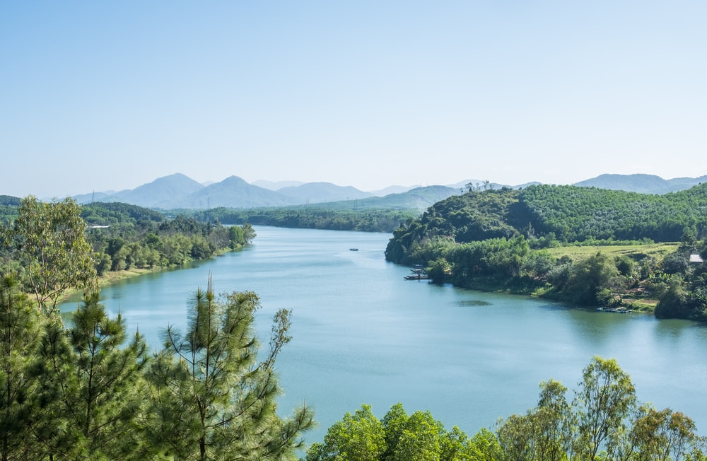 clear lake surrounded by forest under clear blue sky