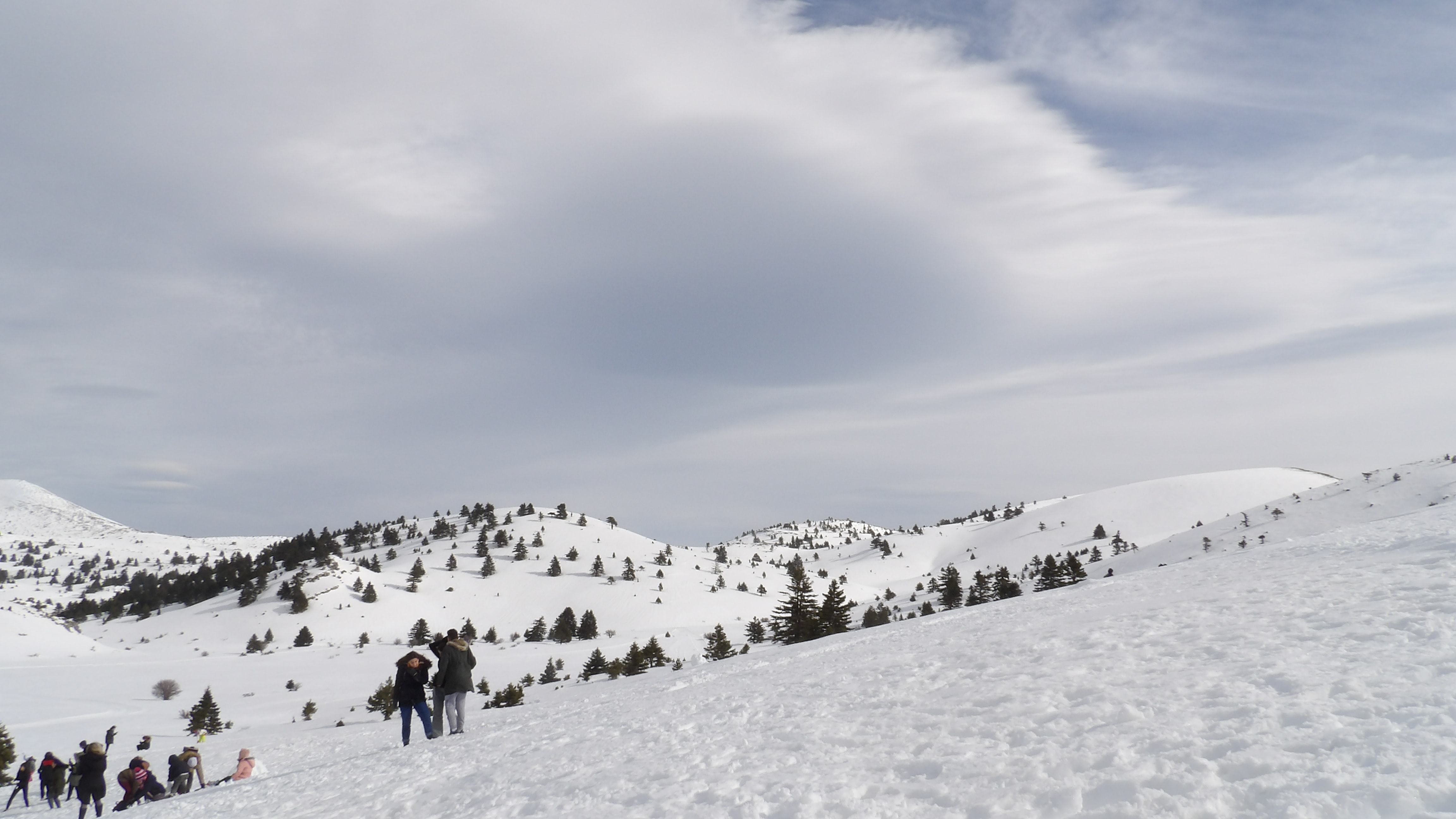 two people on snowy mountain