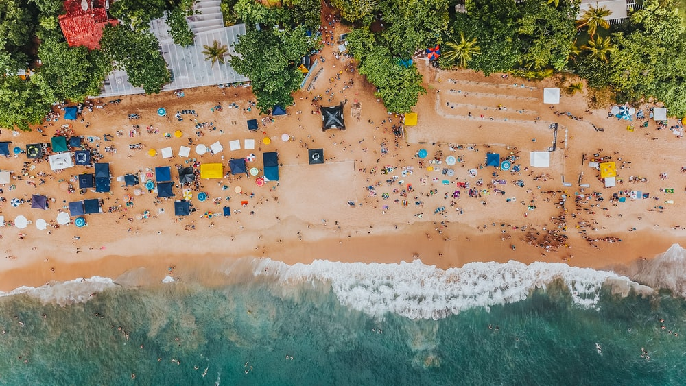 aerial photography of crowd on seashore