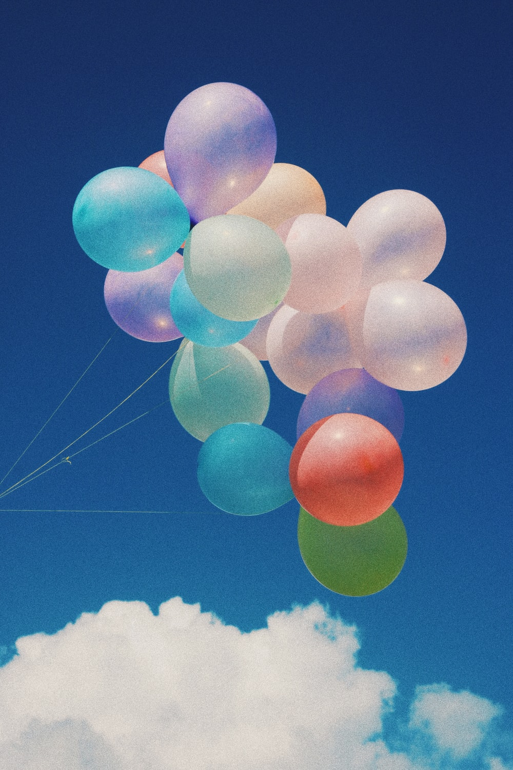 white, blue, and purple balloons