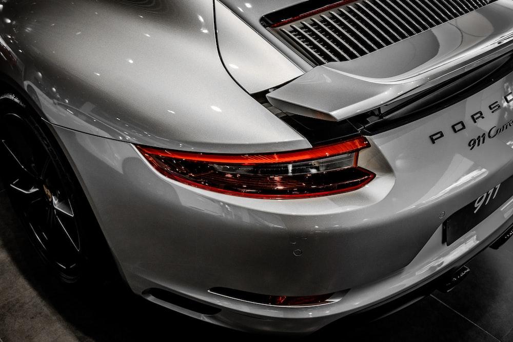 silver Porsche car