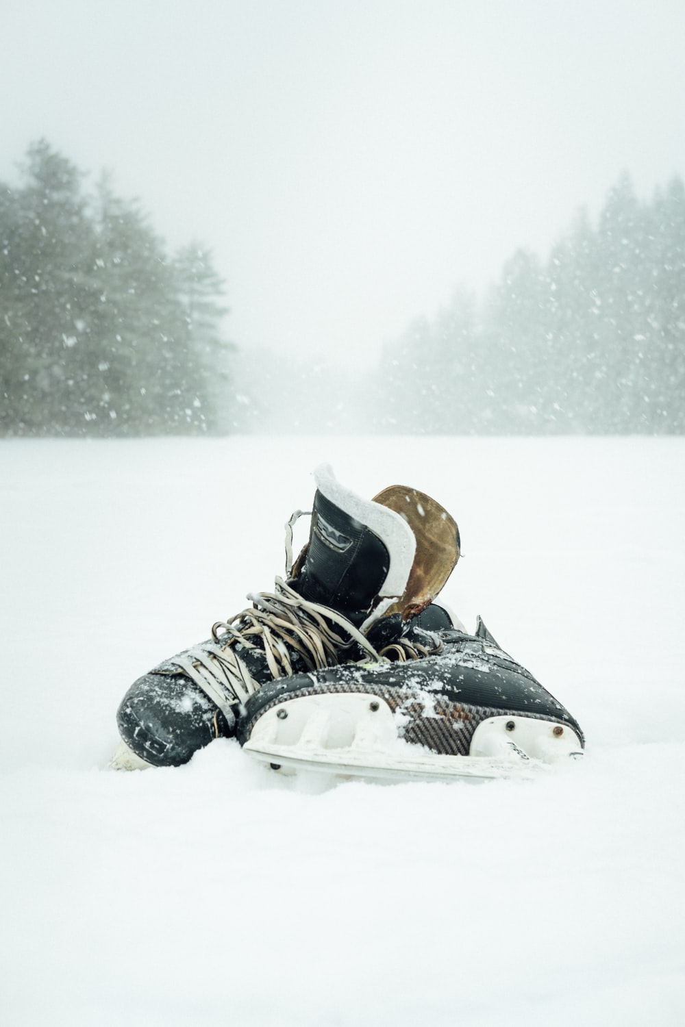 pair of black-and-white ice skates surrounded by snow