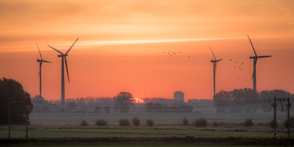 view of turbines during sunset