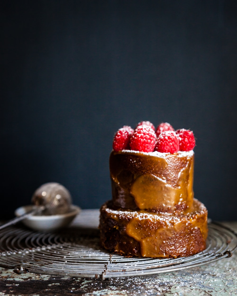 baked cake with rapsberry fruits