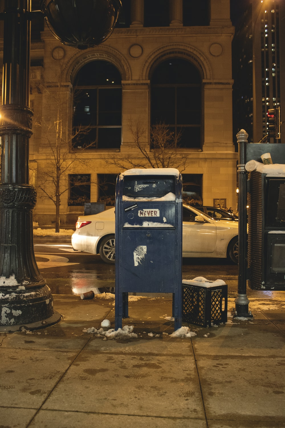 blue metal trash bin