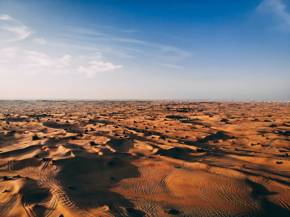 aerial photography of desert under clea blue sky