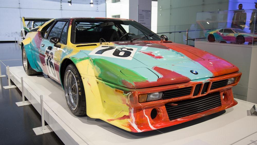 multicolored BMW rally car