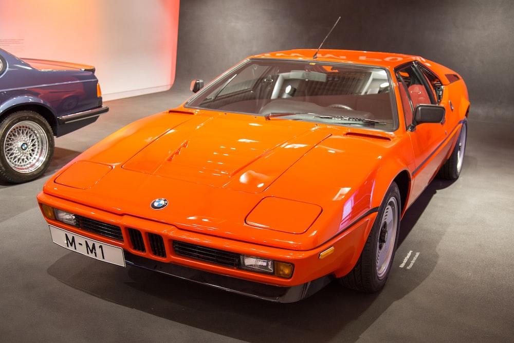 orange BMW coupe