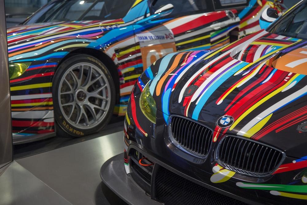 multicolored BMW car