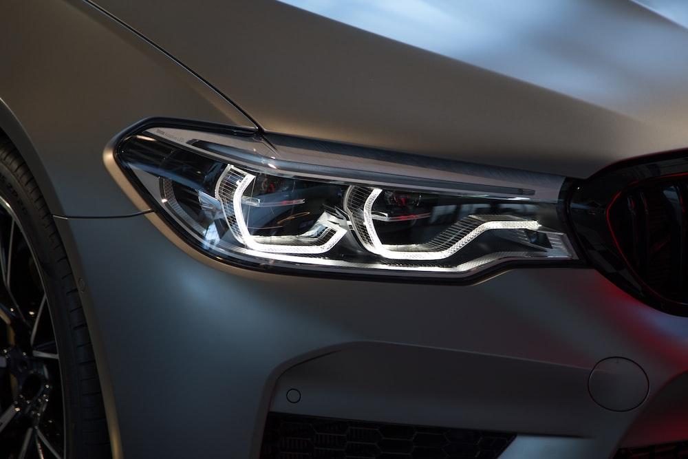 gray car headlights