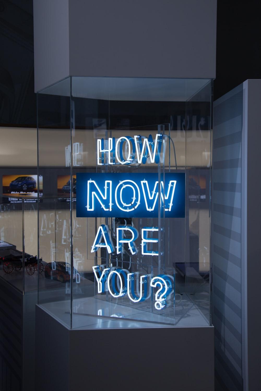 blue and white LED light signage
